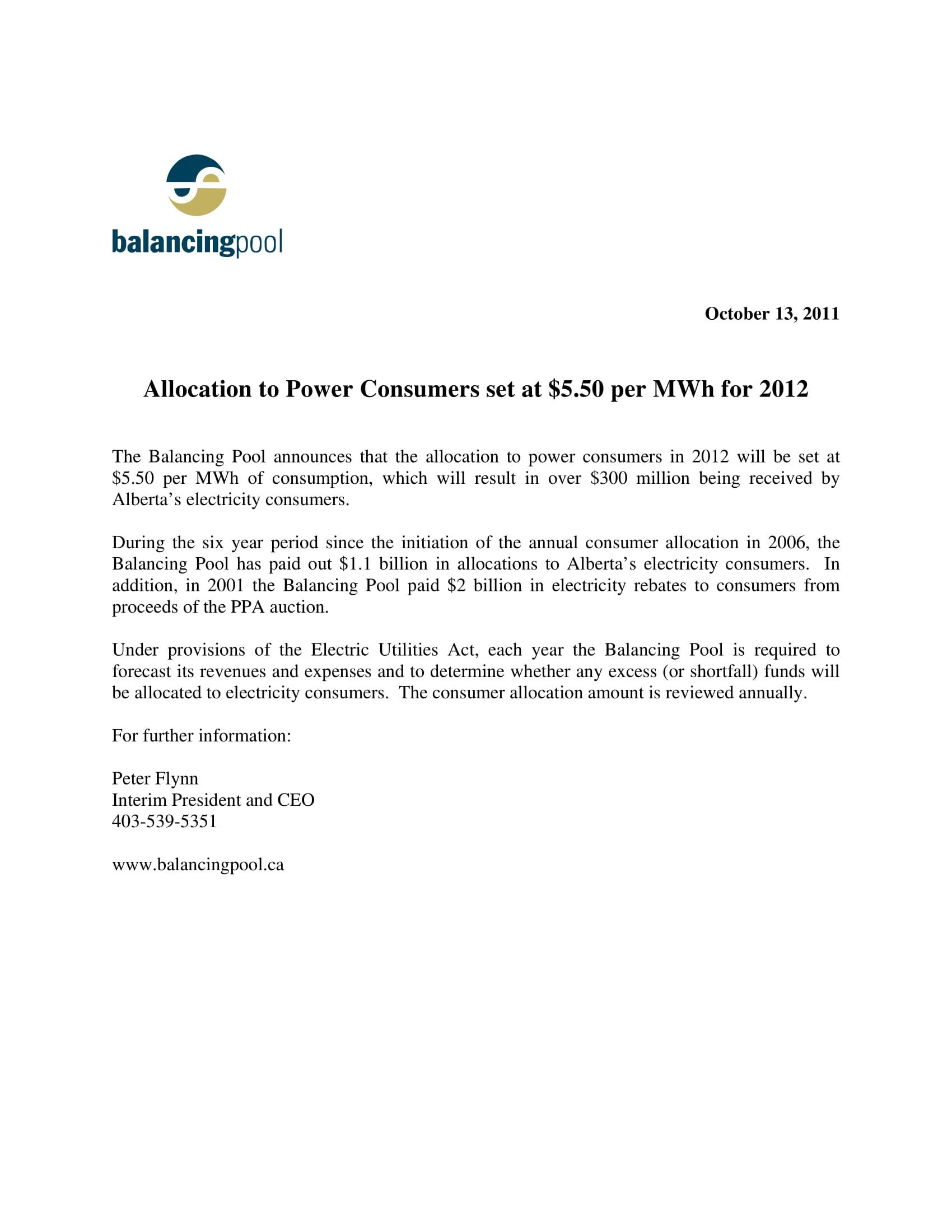 News Release 2011 Consumer Allocation