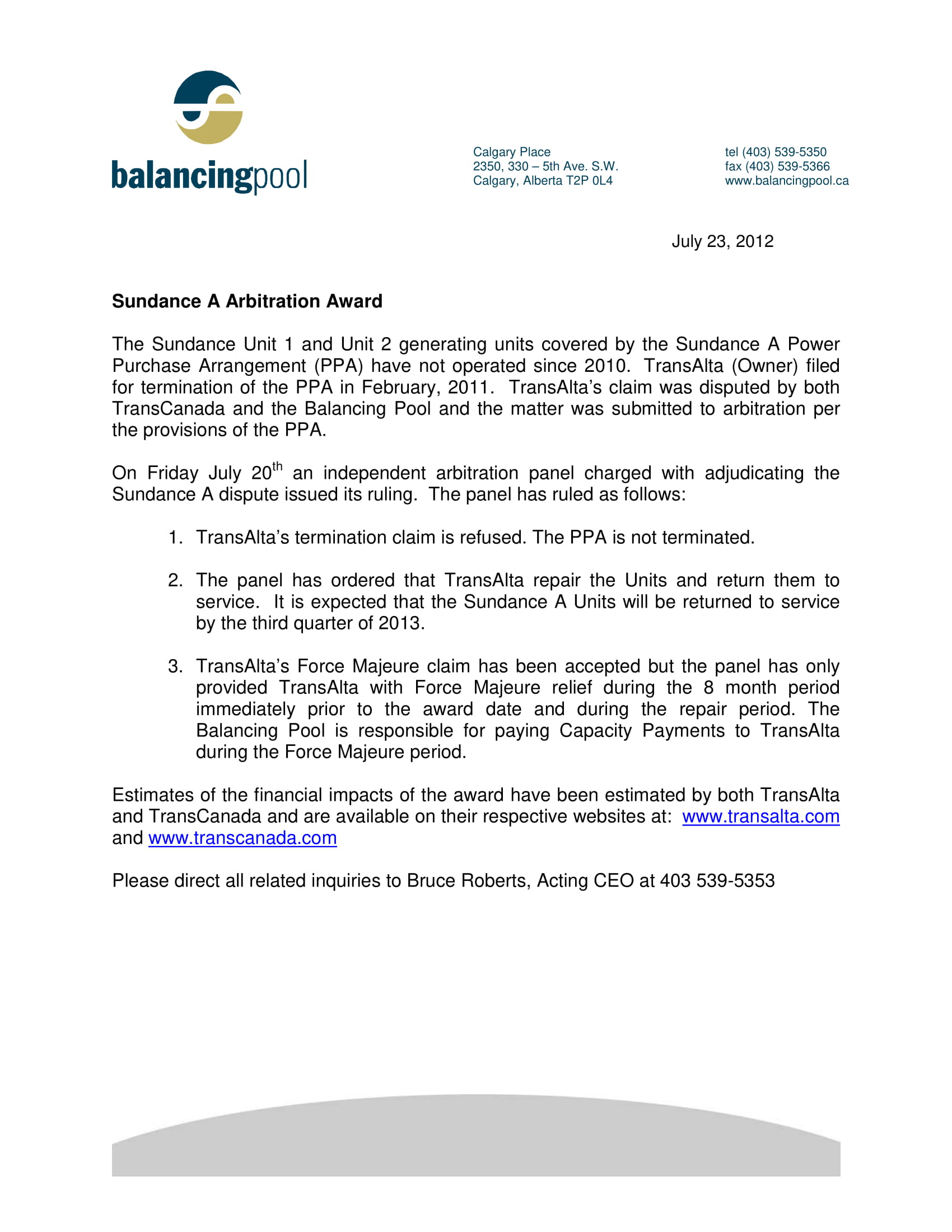 News Release 2012 Sundance Arbitration Award