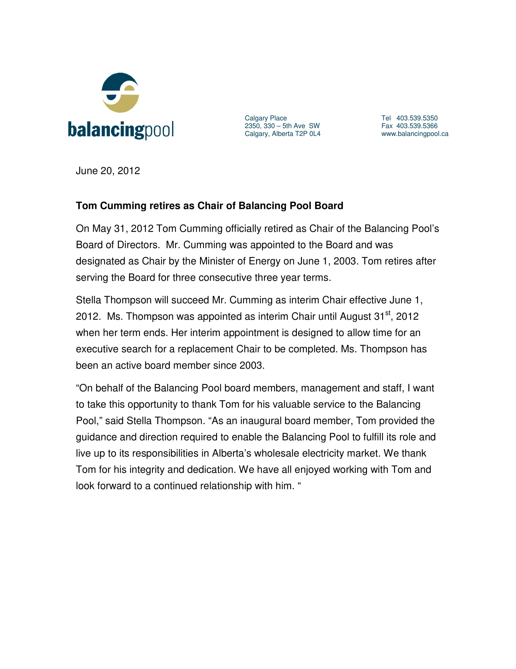 News Release 2012 Tom Cumming Retires