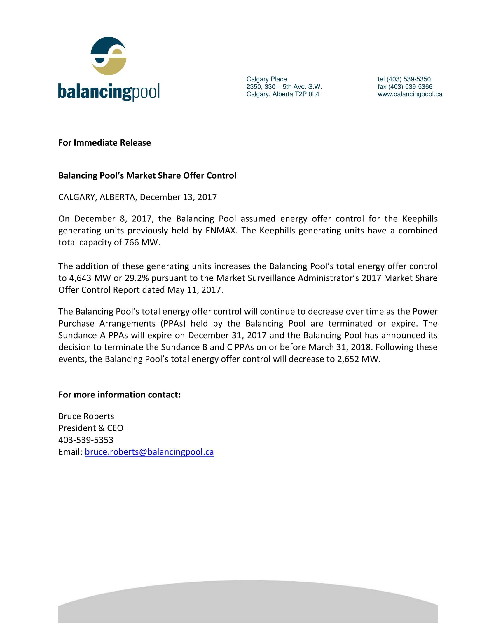 News Release BP Offer Control Dec 13