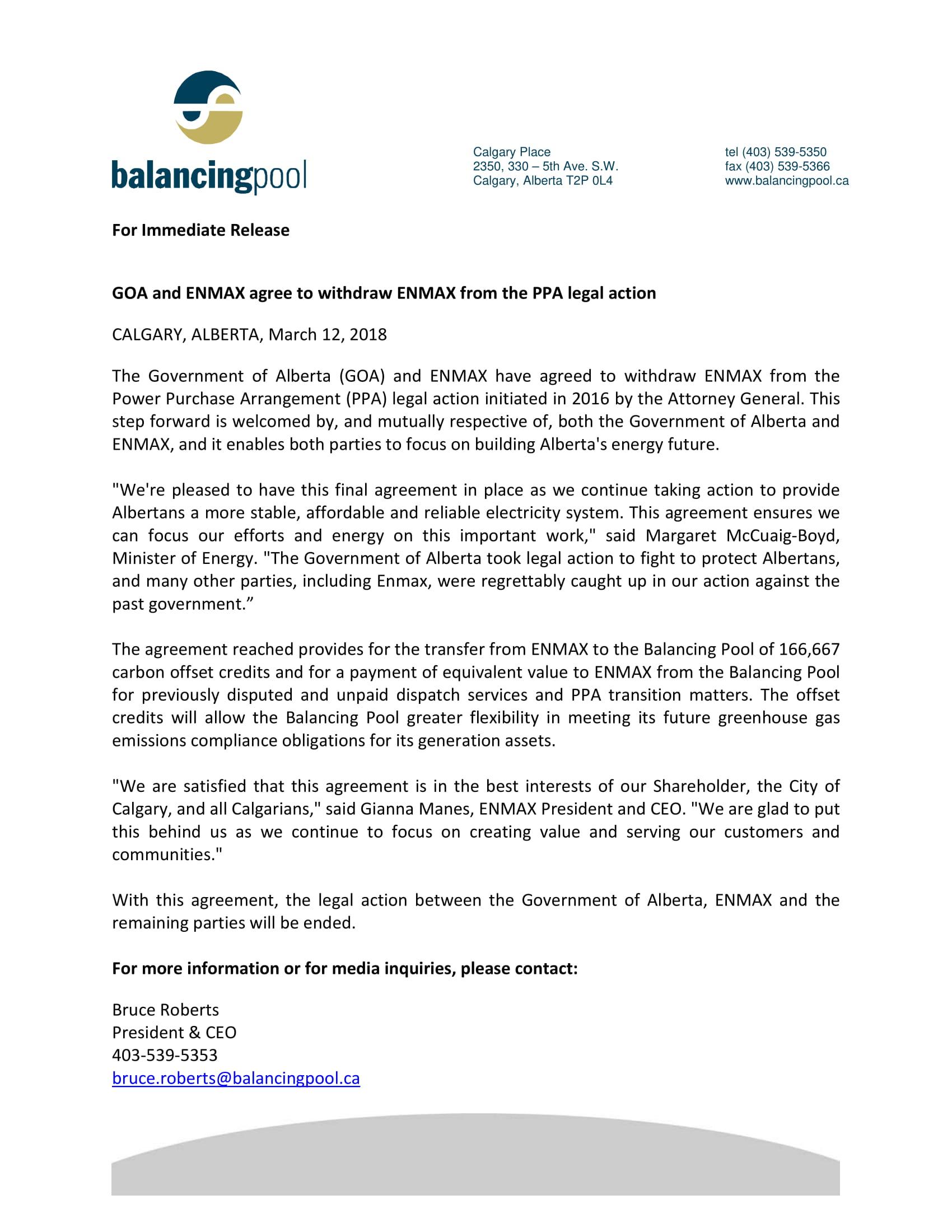 News Release 2018 ENMAX Settlement