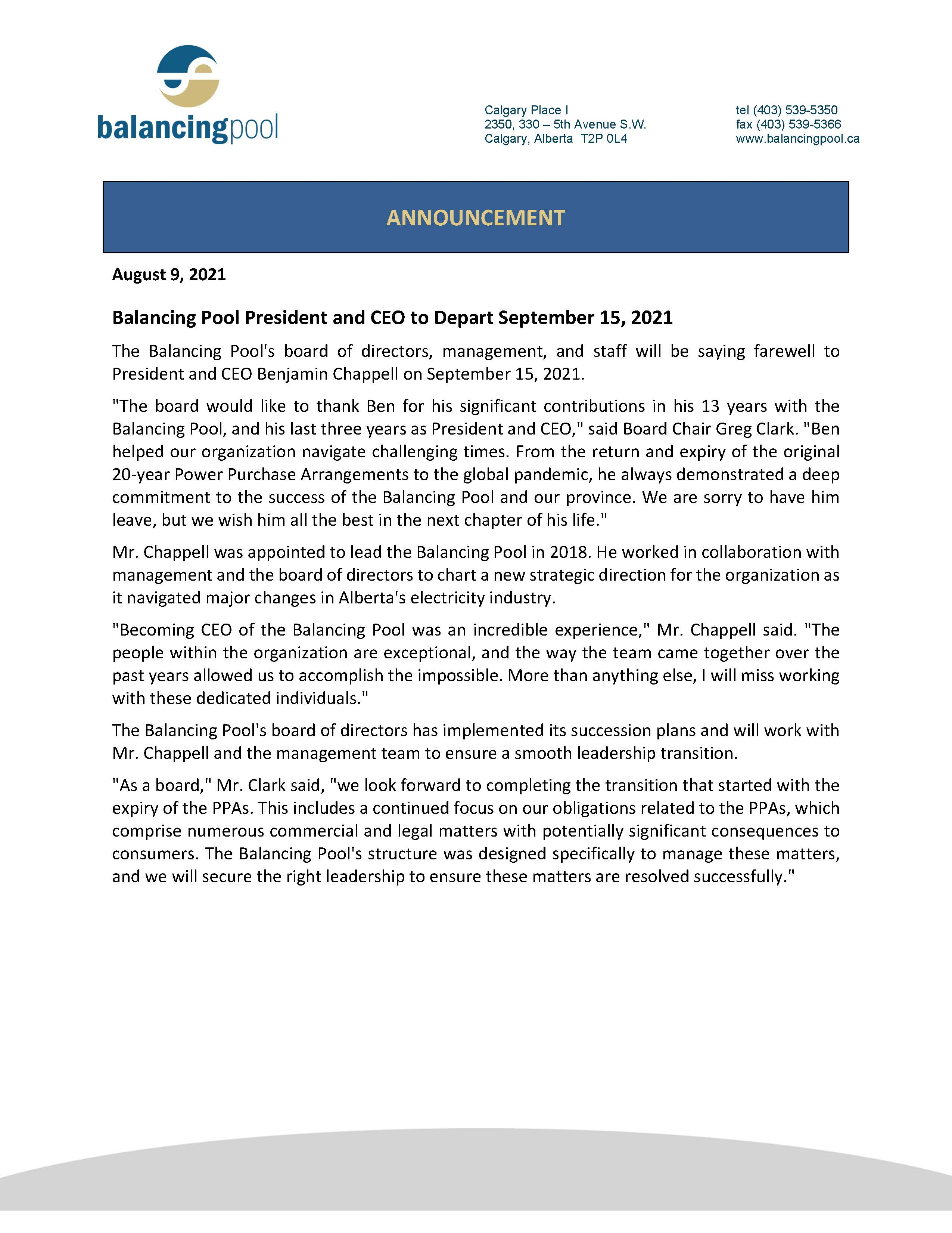 President and CEO to Depart September 15 2021